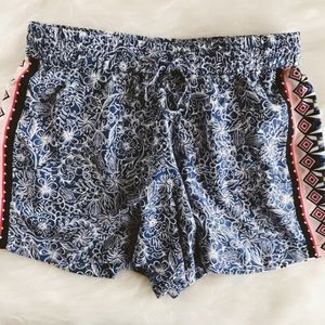 tropical tribal pull on casual shorts